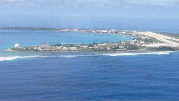 An aerial view of Kwajalein Island, headquarters of the US Army Garrison-Kwajalein Atoll