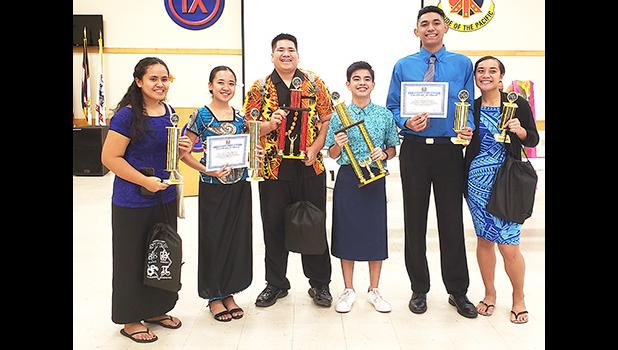 (L-R) are the Top 6 winners of the competition: Noelle Lei Sam (SPA), 4th Place; Avril Louella Regis (FMHS) 3rd Place; Osana Laulu (LHS), 2nd Place; Vincent Maverick Jagon (FMHS), 1st Place; Kutori Temese (Manumalo), 5th Place; and Jodesy Fuiava (Manumalo), 6th place.