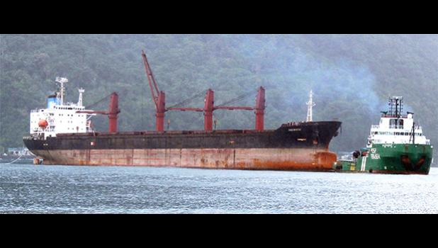 North Korean cargo ship, Wise Honest (left) with a towing vessel in the bay area waters