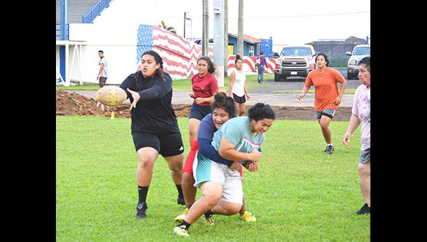 Some members of The American Samoa Women's Rugby 7s Team, during a practice session
