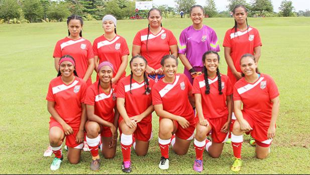 The American Samoa women's national team pose