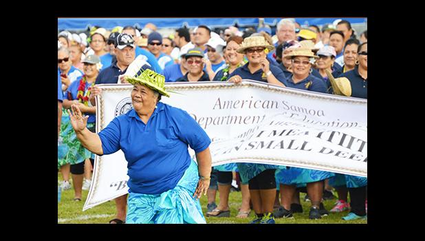 Representing the many, a government employee performed a Samoan dance during the ASG 4th Annual Workforce Day, last Friday, at the Veterans Memorial Stadium. The event honors all workers in American Samoa —public and private sector. [photo: AF]