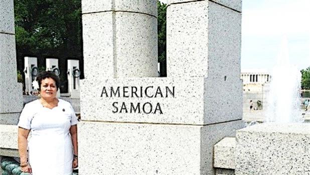 Amata at American Samoa pillar of the WW II memorial in Washington, D.C.
