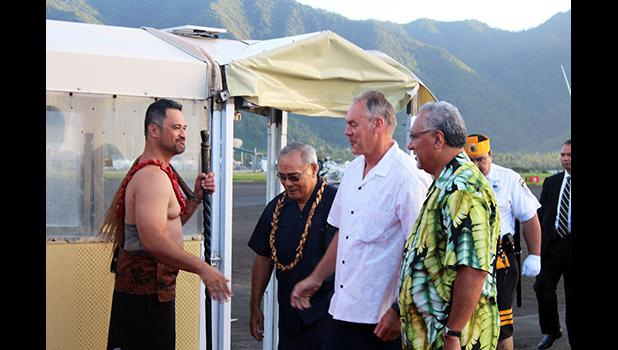 Talauega Eleasalo Ale, dressed in Samoan chiefly attire, Gov. Lolo Matalasi Moliga, US Secretary of Interior, Ryan Zinke, and US Interior Department official Nikolao Pula