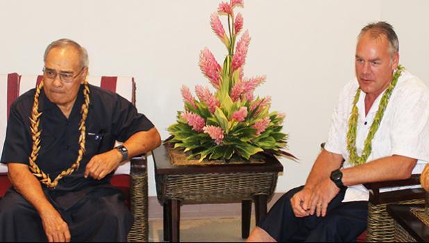 Gov. Lolo Matalasi Moliga (left) and US Secretary of Interior, Ryan Zinke,