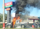Truck on fire in front of Laufou Shopping Center