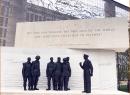 Closer view of sculpture of Eisenhower in World War II