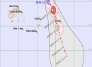 The forecast track for Cyclone Wasi