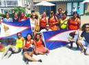 American Samoa's U18 Women's Beach Handball Team with supporters