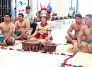 Miss American Samoa Epifania Petelo (middle) as Taupou for the traditional Ava ceremony for the opening of the Tatau Festival at the Taumeasina Island Resort on Thursday in Apia,