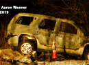 Screenshot of burned out SUV
