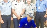 Pictured L–R standing: New Zealand Police Sergeant Al Campbell, Samoa Police Commissioner Egon Keil, NZ High Commissioner in Samoa HE David Nicholson, Samoa Police K9 Unit officer in charge Senior Sergeant Tavete Tusani. Kneeling: Constable Mozart Milo and Flame. [photo: New Zealand High Commission, Samoa]