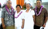 In this 2014 file photo, sharing a happy moment at the ASCC Nursing Department's Recognition Ceremony are (l-r) Department of Commerce Director and keynote speaker Keniseli Lafaele, ASCC Nursing chairperson Lele Ah Mu, new LPN Ria Lefiti, and Attorney General Talauega Eleasalo Ale who spoke on behalf of ASG. (Photo: J. Kneubuhl)