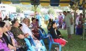 Lt. Gov. Lemanu Sialega Palepoi Mauga, welcomes families to the government memorial service on