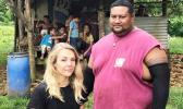 Sophie Morgan with Tavita Taki Tuuamaalii at his plantation. [Photograph: Channel 4 via The Guardian]
