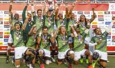 South Africa celebrate after winning the Cup Final match between South Africa and Fiji at the HSBC Rugby Sevens Series held in Sam Boyd Stadium March 3-5, 2017. Final score: South Africa 19, Fiji-12. (Photo by Allan Hamilton/ Calibre Sports Photomedia)