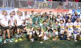 South Africa #1, Fiji #2 and the USA #3 celebrate after the Cup Final match between South Africa and Fiji at the HSBC Rugby Sevens Series held in Sam Boyd Stadium March 3-5, 2017. Final score: South Africa 19, Fiji-12. (Photo by Allan Hamilton/ Calibre Sports Photomedia)