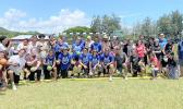 Group photo of players, coaches and others who took part in the first dodgeball tournament
