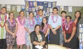 Students, who are the recipients of the 2017 Rotary Club of Pago Pago 4-Way Test, with President Margie Tafiti seated, and inset Representative Samuel Meleisea. [Courtesy photo]