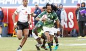 Cecil Afrika #10 of South Africa scores during the Cup Final match between South Africa and Fiji at the HSBC Rugby Sevens Series held in Sam Boyd Stadium March 3-5, 2017. Final score: South Africa-19, Fiji-12. (Photo by Allan Hamilton/ Calibre Sports Photomedia)