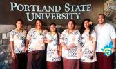 Five ASCC students recently returned from a BUILD EXITO orientation held at Portland State University. BUILD EXITO is a program funded by the National Insitute of Health to encourage students to enter the biomedical, science and engineering professions.  Front row (l-r): Dr. Toetu Faaleva, PSU professor and director of the McNair Scholars Program, Vinesa Faaogea, Olivia Atiano'e, ASCC Health & Human Services instructor Mr. Derek Helsham, and Makerusa Porotesano, Program Coordinator of the Pacific Islander,
