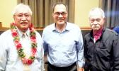 Following a Business Forum presented by the Business Ambassadors of ASCC (BAOA) last week, guest speaker HTC Iulogologo J. Pereira, Special Assistant to the Governor (left) is pictured with ASCC Business instructors Lam Yuen Lam Yuen Jr. and Ioapo Taua'i.  [photo: J. Kneubuhl]