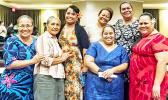 ASCC faculty, staff and students congratulate Samoan Studies Institute Director Okenaisa Fauolo-Manila (back, far right) following her campus lecture last week on Siva Samoa (Samoan dance).  [Photo: V. Tofilau]