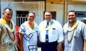 "ASCC Samoan Studies Institue (SSI) Director Keseta Okenaisa Fauolo-Manila (second left) is seen here with members of her staff who collaborated on the new publication ""O Lo'u Nuu o Fagatogo"" or ""Fagatogo, My Village."" They are (l-r) Teleiai Christian Ausage, former SSI faculty Tofa Nunuimalo Apisaloma Toleafoa. and Fale Tipa.  [Courtesy Photo]"