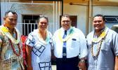 """ASCC Samoan Studies Institue (SSI) Director Keseta Okenaisa Fauolo-Manila (second left) is seen here with members of her staff who collaborated on the new publication """"O Lo'u Nuu o Fagatogo"""" or """"Fagatogo, My Village."""" They are (l-r) Teleiai Christian Ausage, former SSI faculty Tofa Nunuimalo Apisaloma Toleafoa. and Fale Tipa.  [Courtesy Photo]"""