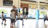 The heated game between Mizuno Boys and the Laumuatasi Mens Team from Pago Pago to vie for the top four teams to play for the championship of the Samoa Challenge Men's Division. Laumuatasi won this slot during their game on Tuesday evening at Samoana Gymnasium. [photo: Leua Aiono Frost]