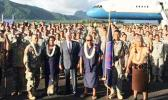 Congresswoman Aumua Amata, Vice President Pence, and Governor Lolo stand before the troops from the  100th Infantry Battalion and Air Force Two at Pago Pago Intl Airport last week.  [Courtesy photo]