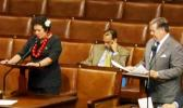 Congresswoman Amata and Chairman Calvert talk about education funding for AS, on the House floor last year. [courtesy photo]