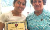 Congresswoman Aumua Amata with this year's Malofie Congressional Art Competition winner, Samoana High School's Katie Godinet.  [photo: courtesy]