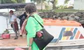 Amata boards the boat in Manu'a. [courtesy photo]
