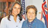 Tulsi Gabbard of Hawaii, left, and Amata Radewagen of American Samoa. (courtesy photo via Saipan Tribune)