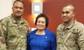 Amata with soldiers at Fort Bragg this week. [courtesy photo]