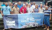 Aua village chiefs with visiting scientists Dr. Charles Birkeland and Dr. Alison Green last week, during the 100th anniversary of the Aua Coral Transect Project, the oldest survey of a coral reef in the world. See story for full details. [photo: courtesy]