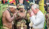 Britain's Prince Charles, takes a drink with Chief Sine Mao Tirsupe, President of the Malvatumauri National Council of Chiefs, during a visit to the Chief's nakamal, as he visits the South Pacific island of Vanuatu, April 7, 2018. [Photo: Pool via Reuters/Steve Parsons]