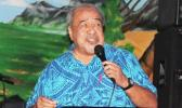 Vaitoa Hans Langkilde croons down memory lane during the UNESCO International Jazz Day Celebration held at the Oasis Night Club in Tafuna on Thursday, April 27. A member of the Samoana Jazz Fest board, Vaito'a also served as Master of Ceremonies for the evening.  [Courtesy photo]
