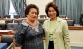 Congresswoman Amata with Transportation Secretary Elaine Chao in a committee room on Capitol Hill.  [courtesy photo]