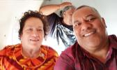 Congresswoman Aumua and Lt Governor Lemanu on a recent flight to Manu'a. [courtesy photo]
