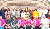 A group photo of Western Pacific Regional Fishery Management Council members, with local officials, following the official welcoming 'ava ceremony on Tuesday at the Fale Samoa in Utulei for the 171st Meeting of the Council hosted by American Samoa.  [photo: Aoelua]