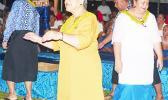First Lady Cynthia Malala Moliga joined Sister Sheila and others during the taualuga for the Catholic Tafuna Youth performance at the Hope House Fiafia Night Fundraiser event, Monday evening, at Fatuoaiga Malae. [photo: Leua Aiono Frost]