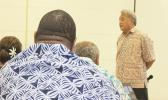 Commerce Department director Keniseli Lafaele speaking at last Thursday's cabinet meeting regarding the upcoming Two-Samoa Talks now set for Oct. 12th in Apia.  [photo: FS]