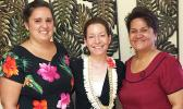 [l-r] American Samoa WorldTeach organization local representative Shivan Wolf, World Teach executive director Karen Doyle Grossman, and Education director Dr. Ruth Matagi-Tofiga last week at the main ASDOE office in Utulei.  [photo: ASDOE]