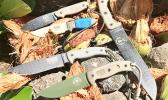 ESEE knives are a no compromise work knife, and are the go-to disaster tool, be it Hurricane Harvey, Samoa Tsunami, or a necessary home or vehicle escape scenario.  Front to back USA manufactured ESEE 5, ESEE 6, ESEE 4, Laser Strike; right side Junglas.  [Photo: Barry Markowitz]