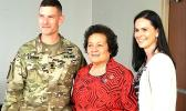 LTC Jeremiah OConnor, Battalion Commander of the 87th COMPOSITE SUSTAINMENT SUPPLY BATTALION OF THE 3RD SUSTAINMENT BRIGADE of 3ID, Fort.Stewart is pictured with Congresswoman Aumua Amata Radewagen and Mrs. Mary Britton, the wife of COL. Britton, 3rd Sustainment Brigade Commander after Mrs. Britton presented the Congresswoman with a welcoming gift of friendship from the Marne Soldiers and 3SB and a gift of friendship between the congresswoman and Fort Stewart.  [courtesy photo]