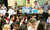 """The Hawai'i Lodging & Tourism Association, the state's largest private-sector hospitality trade organization, has donated and installed 32 room air-conditioners in 16 classrooms at Jefferson Elementary School in Waikiki —the project is dubbed """"Project Cool"""". HLTA president and CEO is Mufi Hahnemann. [photo: Barry Markowitz]"""