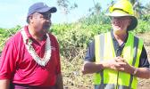 ASTCA chief executive officer, Pulele'iite Liamatua Tufele (left) and Hawaiki program manager for American Samoa, Richard Howarth (right) last Saturday morning giving a briefing to VIPs at Fogagogo on the work carried out laying the Hawaiki cable from the vessel Responder to the Fogagogo landing station.  [photo: FS]