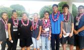 High school students from the Home of the Flames last week participated in the Territorial Science Fair competition. First place category winners are: Aitulagi Alofa (far left), Dorvida Fuiava (2nd from left), and Brodie Blizzard (2nd from right).  [Photo: Blue Chen-Fruean]